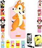 Bukit Cell ® 3D Cartoon Case Bundle - 4 items: ANIMATED STITCH Cute Silicone Case for iPhone SE 5S 5 5G + BUKIT CELL Trademark Cloth + Screen Protector + METALLIC Stylus Touch Pen