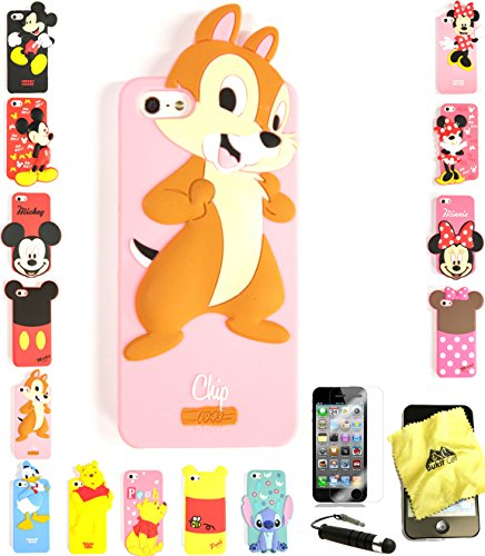 Bukit Cell ® 3D Cartoon Case Bundle - 4 items: ANIMATED CHIP Cute Silicone Case Cover for iPhone SE 5S 5 5G + BUKIT CELL Trademark Lint Cleaning Cloth + Screen Protector + METALLIC Stylus Touch Pen with Anti Dust Plug