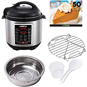 GoWISE USA GW22623 8-Quart Electric Pressure Cooker with Stainless Steel Pot and 12 Cooking Programs + 50 Recipes Booklet, 8-QT, Silver