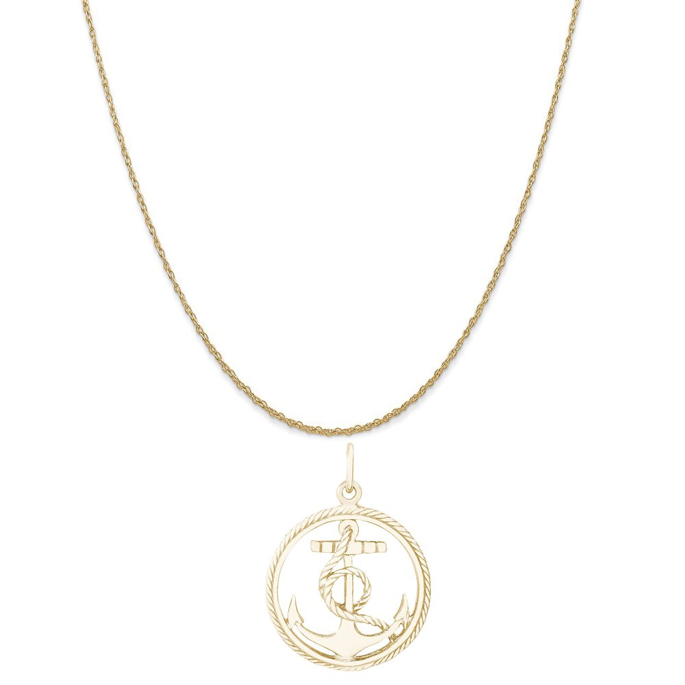 Rembrandt Charms 10K Yellow Gold Anchor in a Circle Charm on a Rope Chain Necklace, 18''