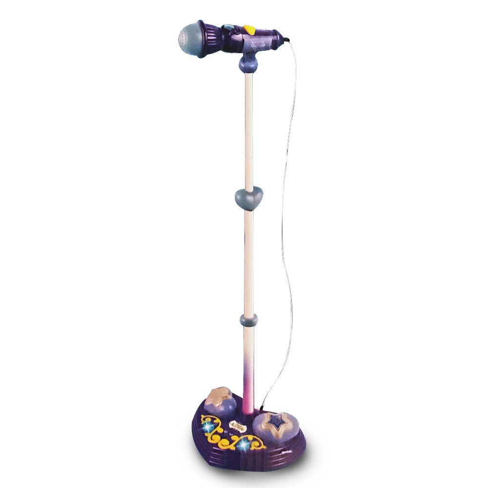 LilPals Princess Karaoke -Children's Toy Stand Up Microphone Play Set w/ Built-in MP3 Player, Speaker, Adjustable Height (Purple)