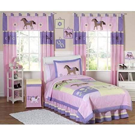 Girls Kids Twin Comforter Bedding Set Pink Purple Floral Pretty Horse Pony Design Includes Scented Candle Tarts (Twin)
