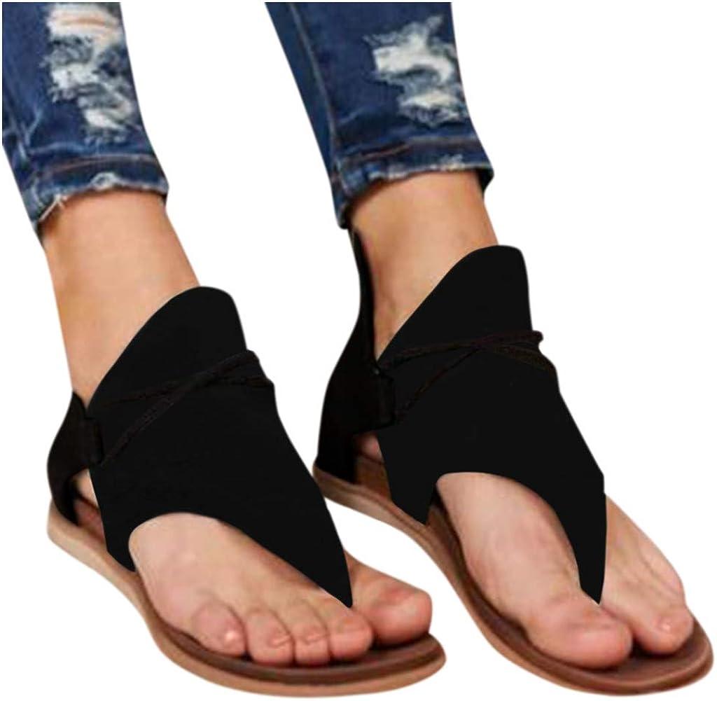 Sandalias Mujer Verano 2020 Cuña Fondo Plano Sandalias Punta Abierta Cuero Retro Zapatos Tacón Plano Casuales Cómodas Mujeres Zapatillas de Playa con Cremallera riou