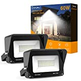 Onforu 2 Pack 60W LED Flood Light with Light Shield, 6000lm Super Bright Security Lights, 5000K Daylight White, IP66 Waterproof Outdoor Landscape Floodlight for Yard, Garden, Playground, Pa