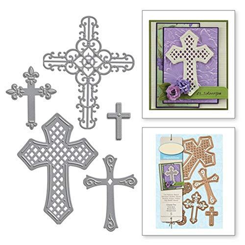 MeikoTan 5Pcs/lot New 2019 Crosses Religious Metal Cutting Dies Frame Die for Scrapbooking Card Album Making DIY Craft Die Cuts Stencils -
