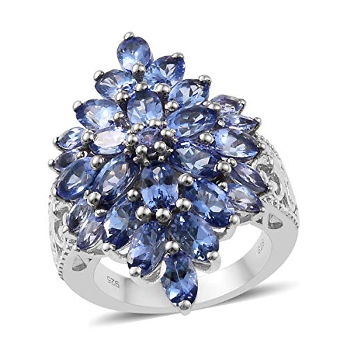 925 Sterling Silver Platinum Plated Oval Tanzanite Ring for Women Size 5 Cttw ()