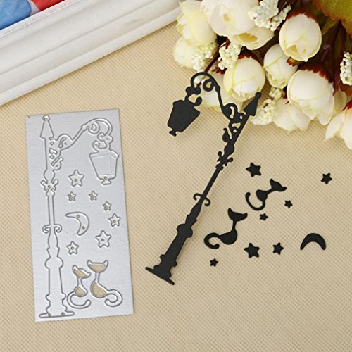 Cutting Dies, Staron Halloween Lace Metal Cutting Dies for Card Making Scrapbooking Embossing Die Cuts Stencil for DIY Scrapbook Embossing Album Paper Card Craft, Vintage Street Light (A)