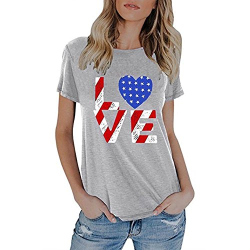 Hot Sale!FarJing Womens Blouse Summer American Flag Print Tops Short Sleeve T-Shirts (S,Gray) (Silk Racerback Ruffle)
