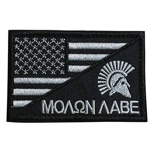 - TrendyLuz Molon Labe Come and Take It Spartan Head Tactical American USA Flag Patch US Military Embroidered Hook & Loop Patch (Black & White)