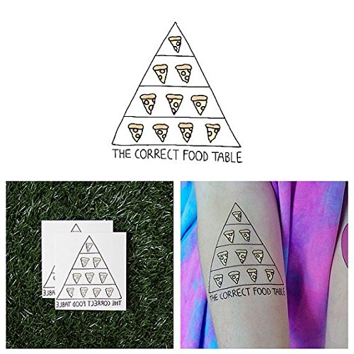 Pyramid Catalog Costumes (Tattify Cute Pizza Temporary Tattoo - Pyramid Scheme (Set of 2) - Other Styles Available and Fashionable Temporary Tattoos - Tattoos that are Long Lasting and Waterproof)