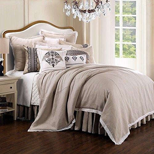 - Comforter-Set. 4-Piece Home Bedding for Bedroom Furniture Includes Comforter, Bed Skirt, Pillow Shams. Versatile, Simple & Elegance Linens Kit in Solid Cream Color with Lace Border. (Super King)