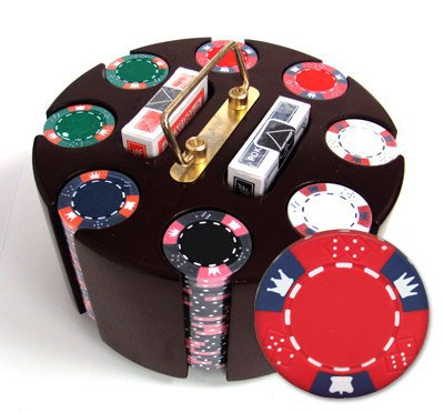 200 14 Gram Crown & Dice Poker Chips & Wooden Carousel by Brybelly