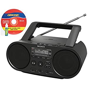 Sony Portable Full Range Stereo Boombox Sound System with MP3 CD Player, AM/FM Radio, 30 Presets, USB Input, Headphone & AUX Jack - Bonus DB Sonic CD Head Cleaner