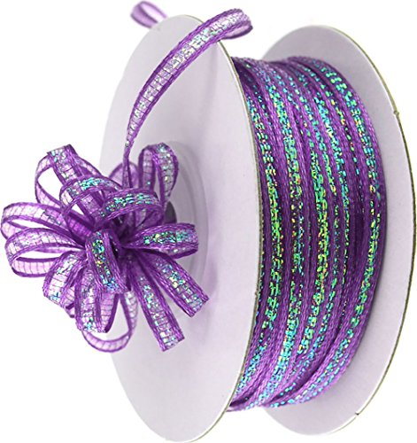 """Custom & Fancy {0.1"""" Inch Width - 50 YDS} 1 Pack of Thin Strand """"Organza"""" Ribbon for Decorations & Gift Wrap Made of Nylon w/ Bright Festive Mardi Gras Tone Sparkly AB Pull String Style [Purple] ()"""