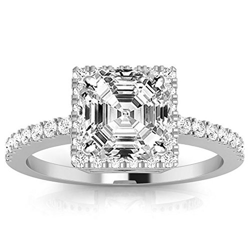 1.3 Ctw 14K White Gold Square Halo Style Single Row Engagement Ring w/ Asscher 1 Carat Forever One Moissanite Center