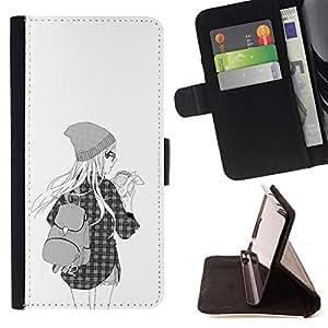 BullDog Case - FOR/Samsung Galaxy S6 EDGE / - / HIPSTER GIRL FASHION SCHOOL BLACK WHITE /- Monedero de cuero de la PU Llevar cubierta de la caja con el ID Credit Card Slots Flip funda de cuer