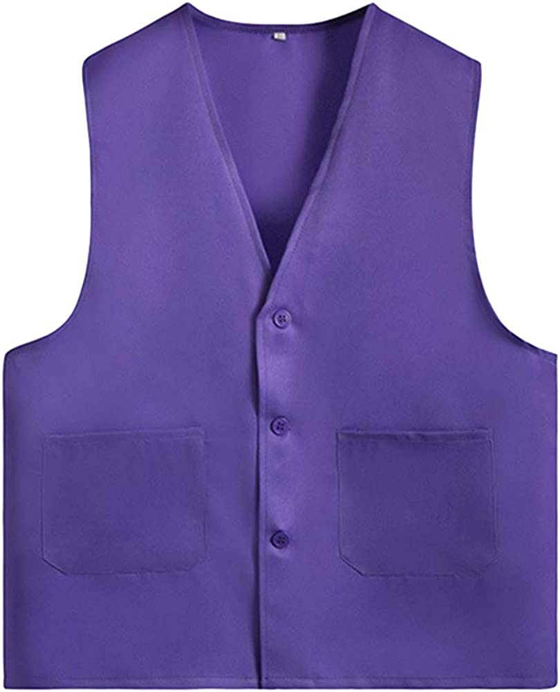 Button Gilet Volunteer Activity Vest Solid Color Waistcoat for Adults