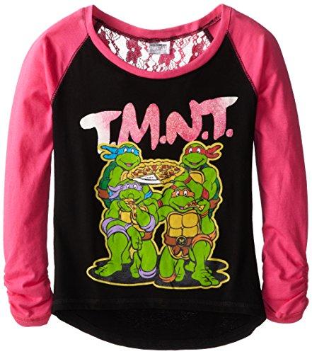 Teenage Mutant Ninja Turtles Big Girls' Short Sleeve T-Shirt Shirt, Black/Hot Pink, 8/10/Medium (Teenage Mutant Ninja Turtles Girls)
