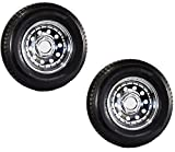 2 Heavy Duty Trailer Tires & Rims ST205/75D15 205/75-15 15'' 5 Lug LRD Chrome Mod
