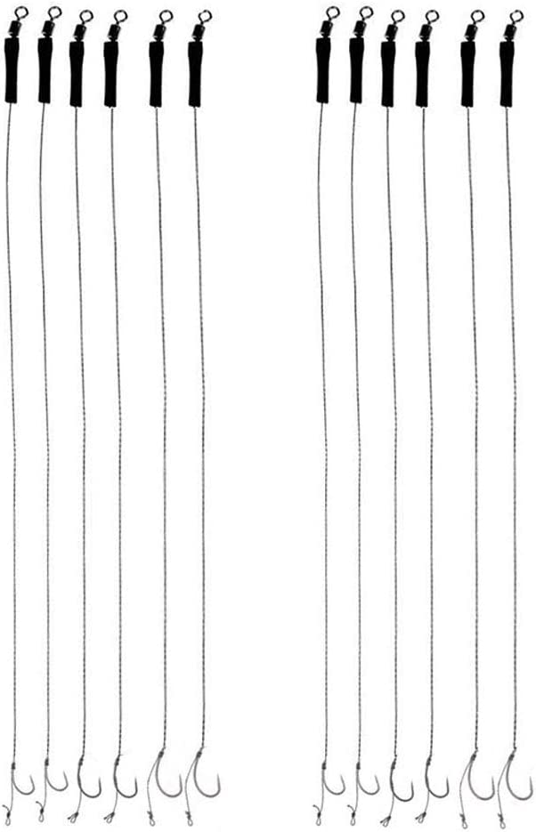 12 Piezas Anzuelos de Pesca de Carpa, Anzuelo de Pesca sin Rebaba, Ganchos de Carpa Curvados, para Agua Dulce y Salada, Pesca de Carpas,Tamaño 6 8 10