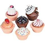 Katzco Lip Gloss Cupcake Shape - 12 Pack Assorted Designs In Colorful Box, Girls Birthday Party Favor, Goody Bag Filler, Prize, Giveaway, Easy To Use - By