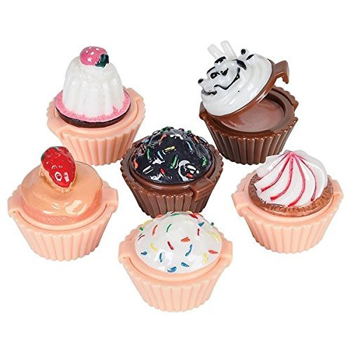 Katzco Lip Gloss Cupcake Shape - 12 Pack Assorted Designs in Colorful Box, Girls Birthday Party Favor, Goody Bag Filler, Prize, Easy to Use