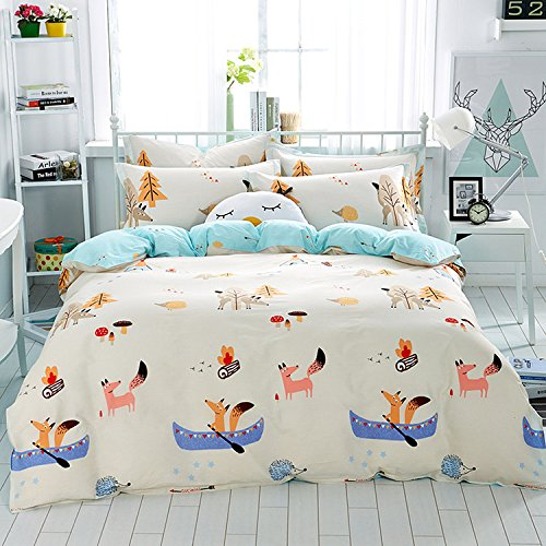 Mumgo Home Bedding for Adult Kids 100% Cotton Fox Playing in Forest Pattern Design Duvet Cover Set Pink Full/Queen Size 4 Piece without Comforter by WarmGo