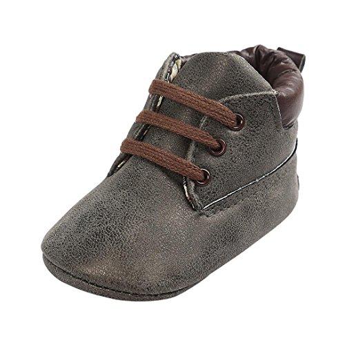 Zapatos Bebé,Xinantime Niña Niño Zapatos de Cuero Artifical Suave Invierno (17, Khaki) Gris Oscuro