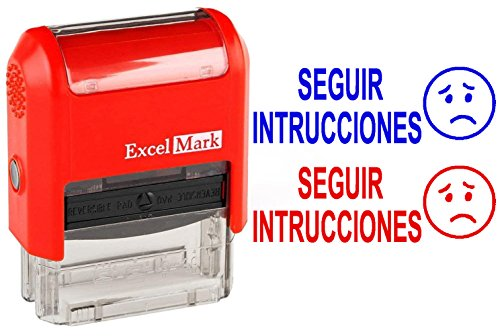 SEGUIR INSTRUCCIONES - ExcelMark Self-Inking Two-Color Rubber Spanish Teacher Stamp - Perfect for Grading Homework - Red and Blue Ink