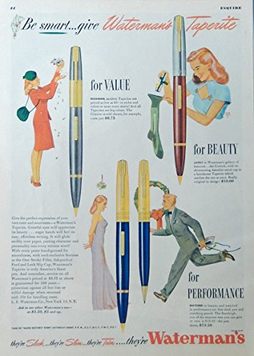 (Waterman's Pens, 40's print ad. full page color illustration (Taperite) this is a beautiful vintage print ad. from a 1946 edition of Esquire Magazine)
