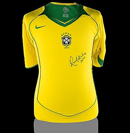 2ab532ae9 Ronaldinho Front Autographed Signed Brazil 2004 Home Shirt - Certified  Authentic Soccer Signature at Amazon's Sports Collectibles Store