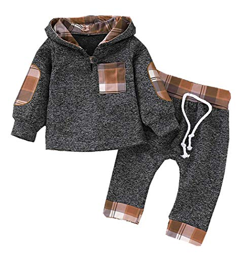 Toddler Baby Boy Girl Sweatsuit Outfit Infant Plaid Pocket Hoodie Sweatshirt Jackets Tops + Pants Clothes Set 0-3t