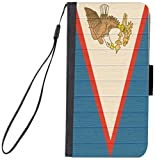 Rikki Knight Premium PU Wallet Flip Case with Kickstand and Magnetic Flap for iPhone 7 PLUS - American Samoa Flag on Distressed Wood Design
