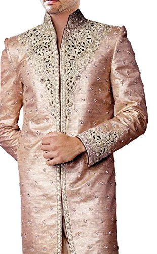 INMONARCH Mens Pink 2 Pc Sherwani Silver Cutwork-Accented SH0176XL40 40 X-Long Pink from INMONARCH