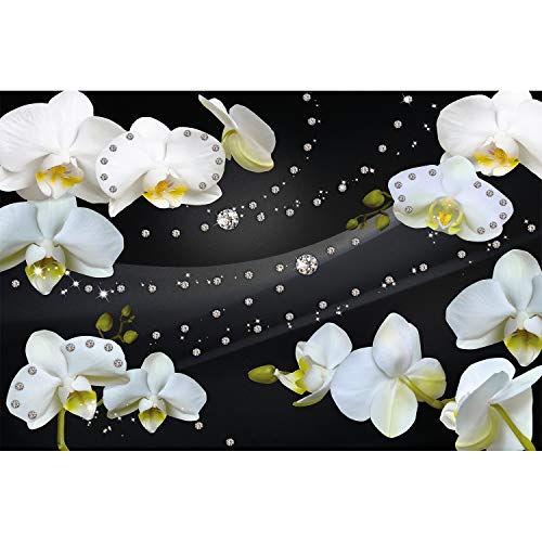 Great Art XXL Poster - Orchid with Diamond Wallpaper - Glamour Black Background Mural Flower Poster Wall Decoration - 1 Piece (55 x 39.4 Inch / 140 x 100 cm)