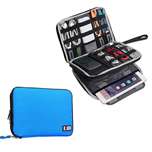 BUBM Double Layer Electronics Organizer/Travel Gadget Bag for Cables, Memory Cards, Flash Hard Drive and More, Fit for iPad or Tablet(up to 9.7)-Large, Blue