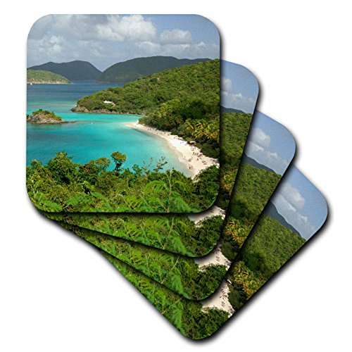 3dRose CST_70005_3 USVI, St. John, Trunk Bay, Virgin Islands NP CA37 CMI0147 Cindy Miller Hopkins Ceramic Tile Coasters (Set of 4) -