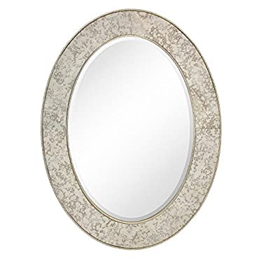 Majestic 30 x 40 Traditional Silver Oval Framed Beveled Glass Accent Mirror