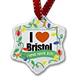 Personalized Name Christmas Ornament, I Love Bristol region: South West England, England NEONBLOND