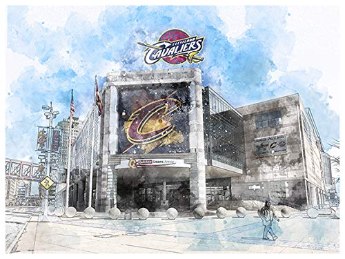 Art Cleveland Cavaliers Poster Arch Rendering Print 12x16 Wall Decor