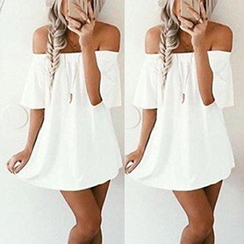 Bluse Maglietta Bianco Moda Top Corto Abito Casual Elegante Donna Lunga Ragazza Vestito Manica Sexy Elecenty 4vwaUxf