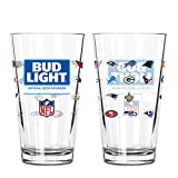 Bud Light Official 32 Team NFL Pint Glass, 2-Pack