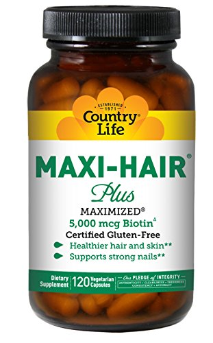 Country Life Maxi-Hair with 5000 mcg of Biotin - 120 Vegetarian Capsules