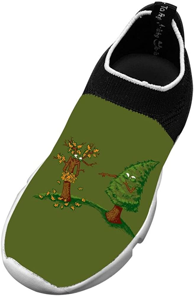 Fall Green Pine Trees Humor New Slim Fit Flywire Knitting 3D Printing Sneakers For Unisex Children