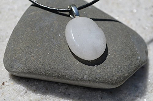 (White Jade Palm Stone on a Leather Cord Necklace)