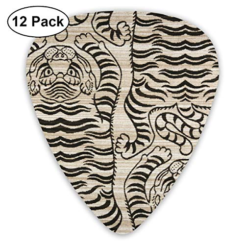 (Tigre Lux Jacquard Onyx Bendy Ultra Thin 0.46 Med 0.73 Thick 0.96mm 4 Pieces Each Base Prime Plastic Jazz Mandolin Bass Ukelele Guitar Pick Plectrum Display)