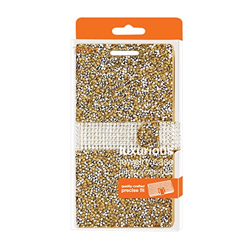 Reiko Wireless Bling Diamond Flip/Wallet Case for HTC One A9 - Gold