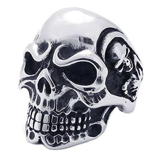KONOV Vintage Gothic Skull Biker Stainless Steel Mens Ring, Silver, Size 11