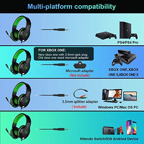Karvipark H-10 Gaming Headset for Xbox One/PS4/PS5/PC/Nintendo Switch Noise Cancelling,Bass Surround Sound,Over Ear,3.5mm Stereo Wired Headphones with Mic for Clear Chat