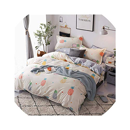 Bedspreads Fruit Pineapple Bedding Set Quilt Cover Queen Full King Size Children Cartoon Duvet Cover Set Yellow and White Bedclothes 4Pcs,Style 10,Twin - Quilt Reese